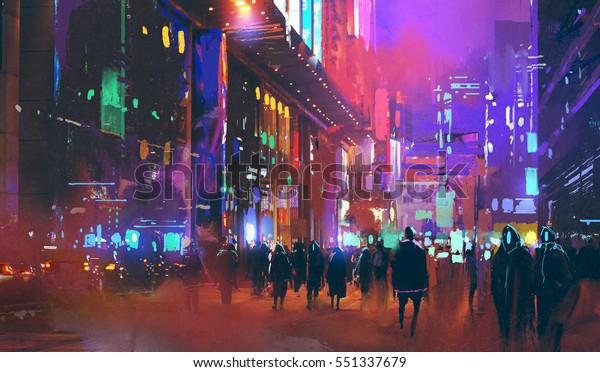 folk vandre i sci-fi byen om natten med fargerikt lys, illustrasjon maleri
