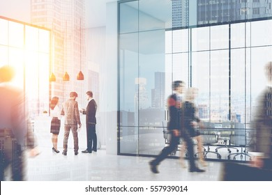 People walking and standing in a busy office of a large company. There is a reception counter in the corner and a meeting room with glass walls. 3d rendering. Mock up. Toned image. Double exposure