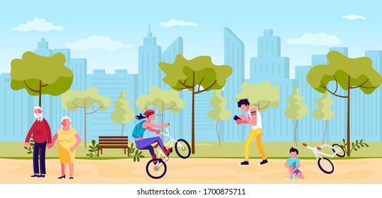 People walking in summer Park horizontal banner. City Building Panorama. Active Leisure Healthy Lifestyle Outdoors for seniors, youth an children. Flat Art Rastered Copy