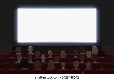 People watching movie at cinema hall interior illustration. Back view.