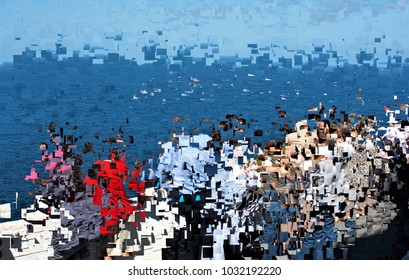 people watching the sea, tribute to Pollock, Abstract expressionism, composition with sparkles and diffusion of colors.,  graphic,