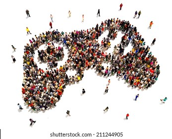 People who are gamers. Large group of people in the symbol shape of a gaming controller on a white background.