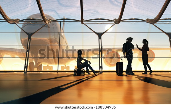 People at the window at the airport.