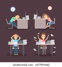 People work late at night set. Tired offcie character sleeping at the workplace. Idea of deadline. Flat  illustration