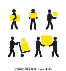People at work silhouette set. Delivery service. Staff. Removals. Isolated raster illustration. Shipment. Parcel. Deliveryman, courier