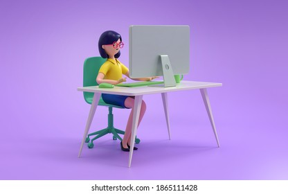 People working with computer at office,business, people and technology concept,3d rendering,conceptual image