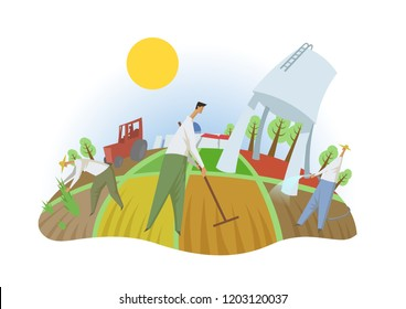 People working in the field, fisheye view. Farming, ecotourism, kibbutz. Colorful flat illustration. Isolated on white background. Raster version.