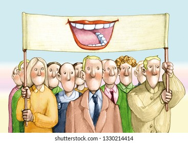 people's crowd without mouth under banner feels a great mouth allegory of representation political common voice
