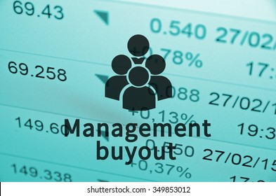 Peoples icon with inscription Management buyout (MBO) with the financial data visible in the background