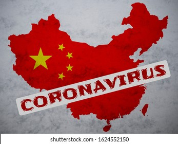 People's Republic of China map country silhouette with a stamp: Coronavirus on it. 2019 Novel Coronavirus (2019-nCoV) concept, for an outbreak occurs in Wuhan, China.