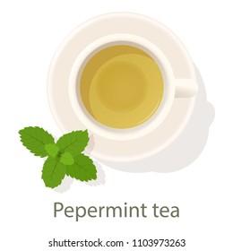 Pepermint tea icon. Cartoon illustration of pepermint tea icon for web