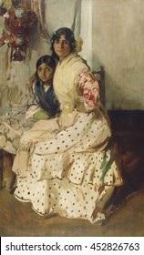 Pepilla the Gypsy and Her Daughter, by Joaquin Sorolla y Bastida, 1910, Spanish painting, oil on canvas. Pepilla sits with one arm protectively around her daughter, and her other hand alertly on her