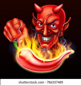 A pepper so hot and spicy it is on fire and devil character pointing at the viewer