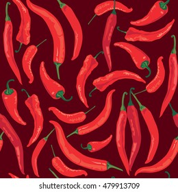 Pepper pattern. Red hot spicy pepper background. Seamless ornament