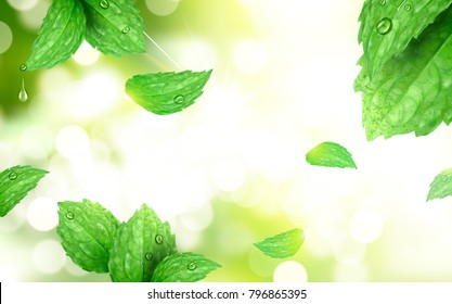 Peppermint bokeh background, refreshing leaves isolated on morning park scene with strong sunbeam, 3d illustration