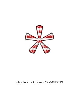 Peppermint style red & white striped asterisk or star shape symbol in a 3D illustration with classic red stripes in a shiny metallic finish & classic font isolated on a white background