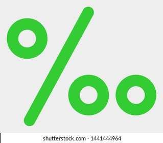 Per mille symbol raster pictograph. Illustration contains flat per mille symbol iconic symbol isolated on a white background.