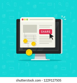 Per pay click or cost per click affiliate technology, flat cartoon computer with internet marketing share button, online website advertising, sharing digital content and making money, monetization