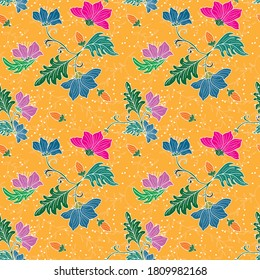 Peranakan motif illustrated design for print on fabric wallpaper texture