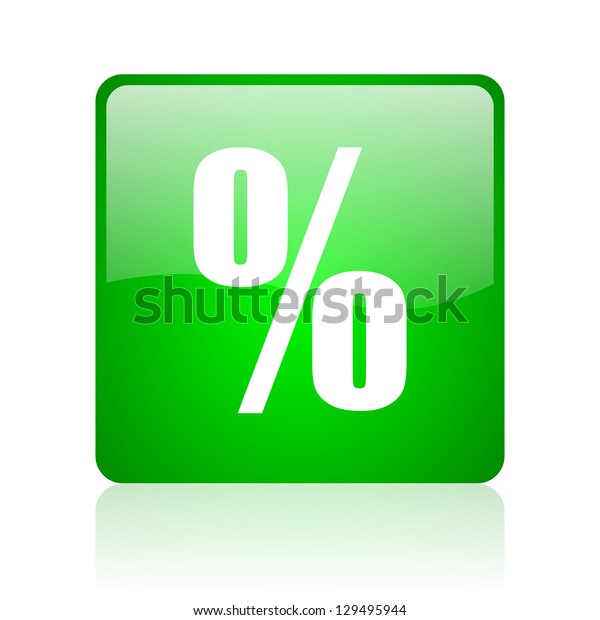 percent green square web icon on white background