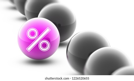 Percent icon. 3D Illustration.