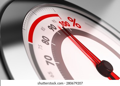 Percent meter with the needle pointing very close to one hundred. Concept of excellence or full capacity.