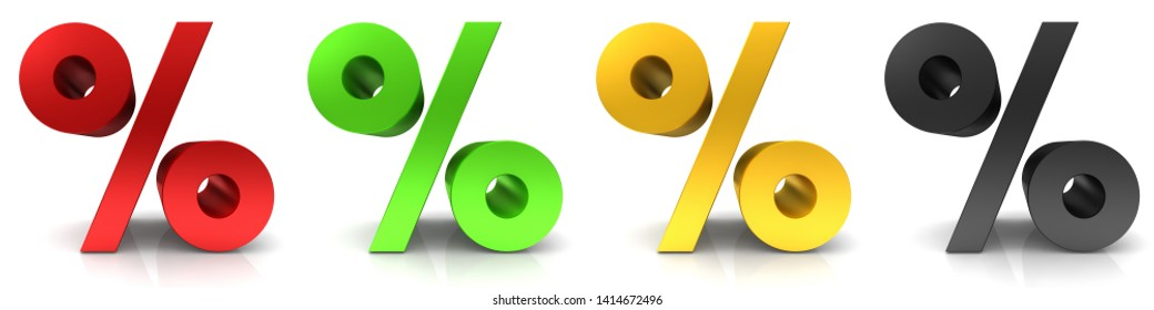 percent percentage sign per cent icon red green golden black interest rates set 3d rendering illustration isolated on white
