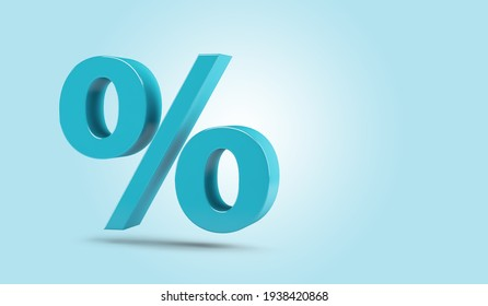 Percent sign isolated from the background with copy space. 3d Rendering