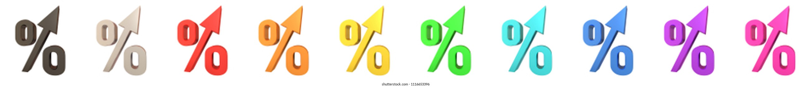 percent sign percentage symbol 3d illustration red interest rate yields raising up profits earnings winnings sign symbol isolated on white background