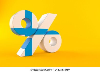 Percent symbol with finnish flag isolated on orange background. 3d illustration