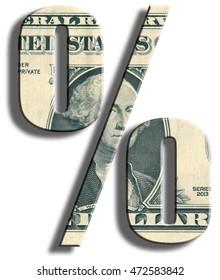 % - percent symbol. US Dollar texture.