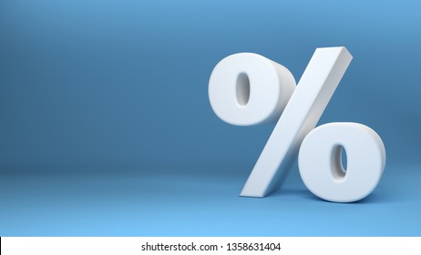 Percentage icon 3D on blue background 3d illustration