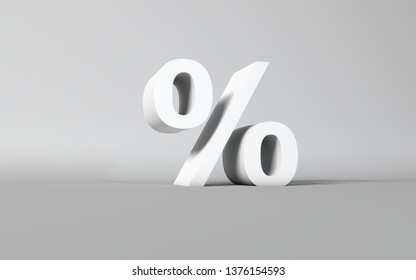Percentage per cent Letter on white 3D Studio background