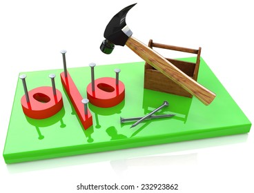 Percentage sign and hammer
