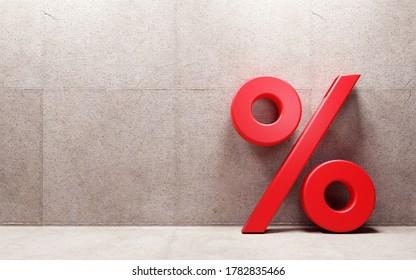 Signo de porcentaje inclinado en la pared. 3.ª representación