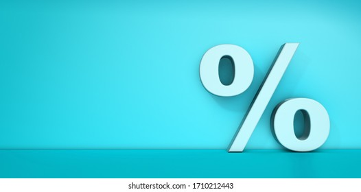 Percentage sign with volume on blue background - percentage concept with space for copy - 3d illustration
