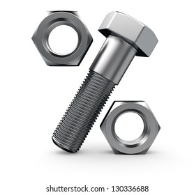 Percentage symbol made from bolt and nuts