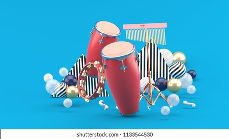 Percussion on colorful balls on blue background.-3d rendering.