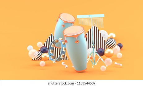 Percussion on colorful balls on orange background.-3d rendering.