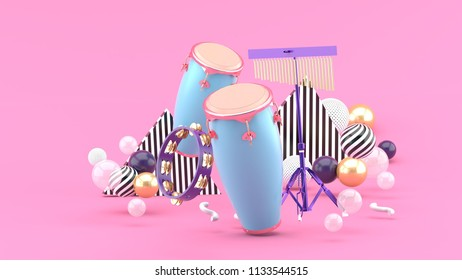 Percussion on colorful balls on pink background.-3d rendering.