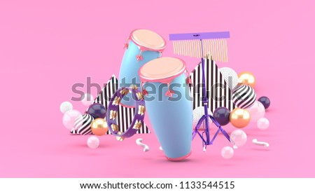 9634c7b7a Percussion On Colorful Balls On Pink Stock Illustration 1133544515 ...