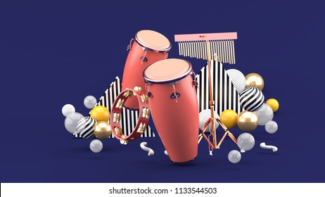 Percussion on colorful balls on purple background.-3d rendering.