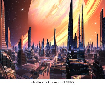 Perfect Alien City with Ring Planet