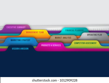 Perfect business plan concept represent with colorful map folders and has writing like vision mission,  products or services, competitor assessment, marketing strategy, executive summary