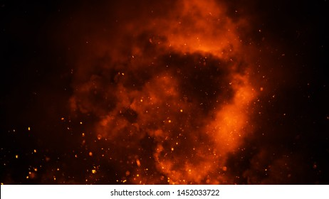 Perfect fire particles embers on background . Smoke fog misty texture overlays.