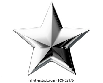 Perfect five pointed silver star isolated on white