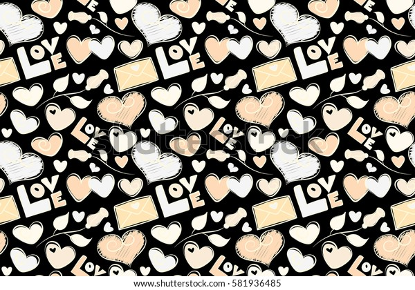 Perfect image in beige colors on black background for wallpaper, web page, textile, greeting cards and wedding invitations. Valentine raster seamless pattern with letter, rose and hearts.