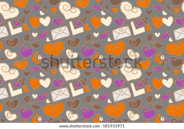 Perfect image in violet, orange and gray colors for wallpaper, web page, textile, greeting cards and wedding invitations. Valentine raster seamless pattern with letter, rose flower and hearts.