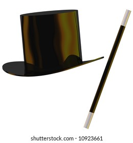 Perfect magician's hat and wand isolated on white