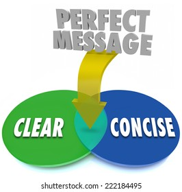 Perfect Message on an arrow pointing to the overlapping area of a venn diagram where Clear and Concise words meet for ideal communication clarity